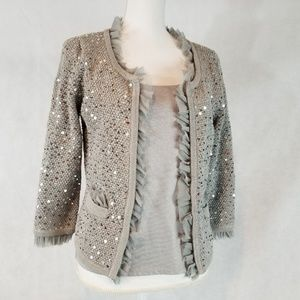 White House Black Market Silver Sequined Sweater